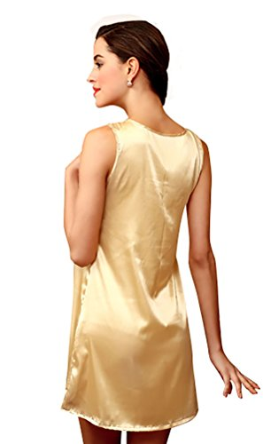 NiSeng femme pyjama satin sans manche vêtements de soirée col V Champagne