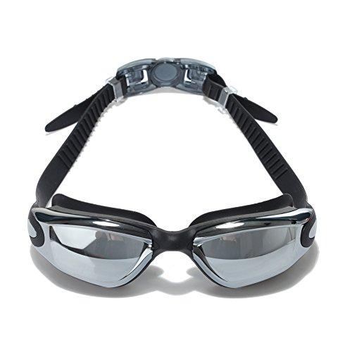 Schwimmbrille Anti-Nebel UV-Schutz Wasserdicht mit kostenlosem Etui verspiegelt, Ohrstöpsel, Nase Clip-Schwimmbrille-Schnelle Anpassung Silikon Kopf Gurt flexibel Nase Brücke getöntes Crystal Clear Objektive bequem für Herren Frauen Erwachsene Youth schwarz schwarz