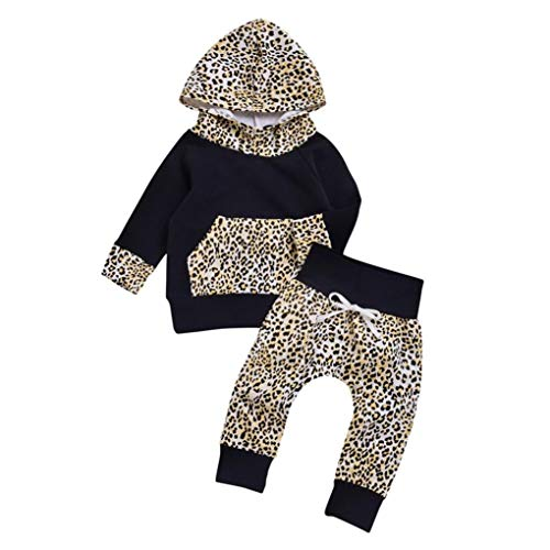 Tute neonato 0-3 3-6 6-9 12 mesi bambino da cerimonia 6-9 12-18 mesi bambino neonato bambini bambine leopard hooded pullover top pantaloni abiti set