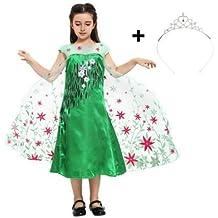 Katara - Disfraz de Elsa - Frozen Fever vestido floral para Cosplay - Traje de princesa o de hadas con tiara para niñas de 8-9 años, verde