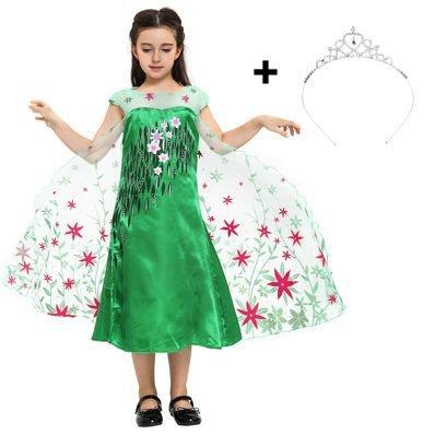 Elsa Eiskönigin Party-Fieber Kleid in Grün für Mädchen mit Verzierungen für Karneval, Fasching, Geburstag oder als süßes Geschenk für Ihre Prinzessin (Beste Freundin Kostüme Einfach)