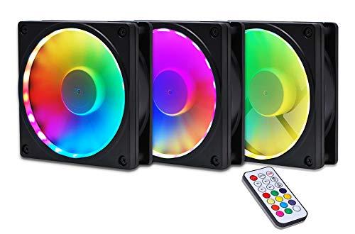 Frame-sync (EZDIY-FAB RGB Lüfterrahmen mit Individuell adressierbarer RGB Beleuchtung 120mm Lüftermontage - mit Controller (Kompatibel mit ASUS Aura Sync, Gigabyte RGB Fusion und MSI Mystic Light Sync)-3 Pack)