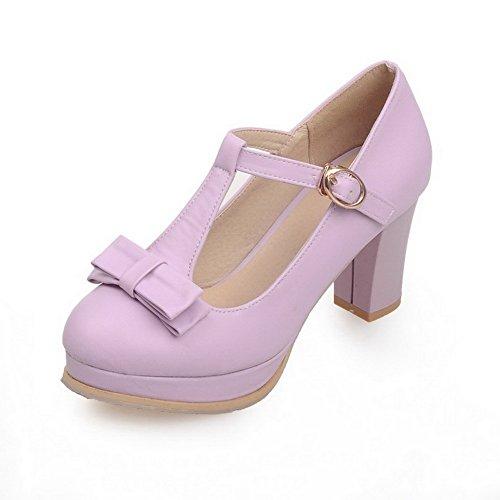 AllhqFashion Femme Boucle à Talon Haut Pu Cuir Couleur Unie Rond Chaussures Légeres Violet