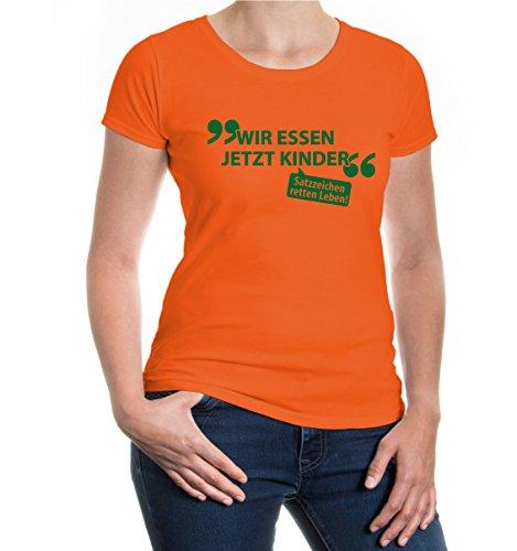buXsbaum® Girlie T-Shirt Wir essen jetzt Kinder Orange-Bottlegreen