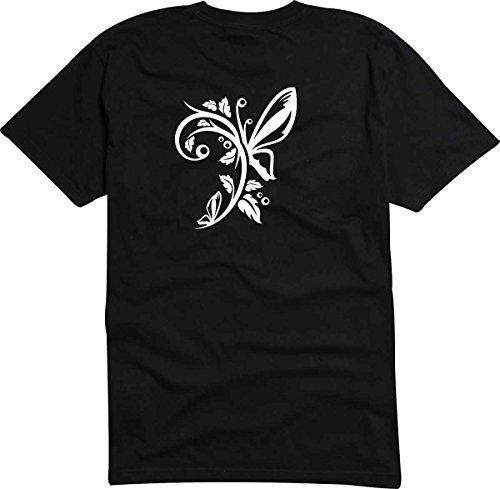T-Shirt D217 T-Shirt Herren schwarz mit farbigem Brustaufdruck - Tribal großer Schmetterling mit kleiner Ranke Mehrfarbig
