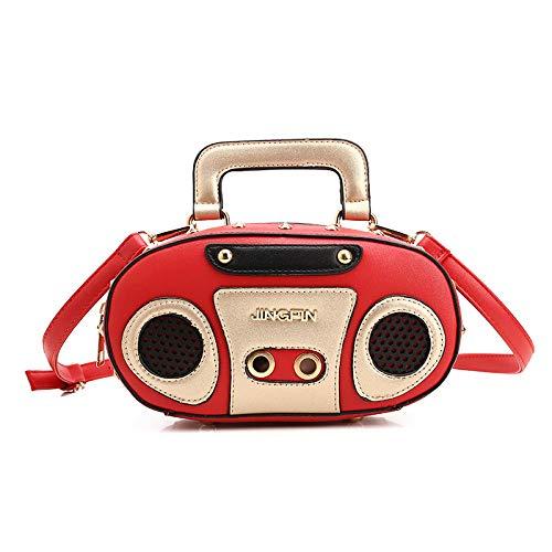 e Rock Style Retro Radio Form Handtaschen Frauen Shouder Tasche Pu-Leder Damenmode Niet Brief Tasche Punk Einkaufstasche ()
