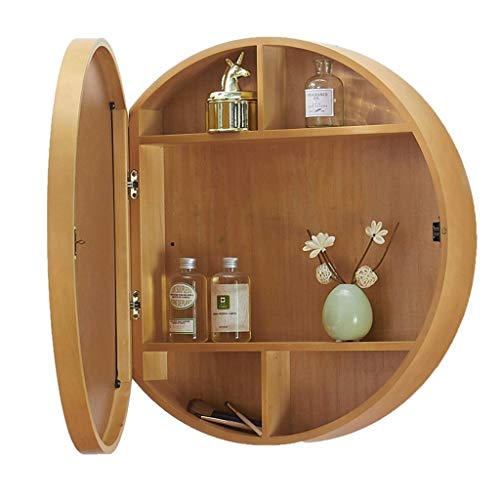 Kompaktspiegel Wandspiegel Holz Natur, mit Regal Toilette Runder Spiegel Aus Massivem Holz Badezimmerspiegel im Schrank an Der Wand Montiert Schminkspiegel (Size : 50cm) -