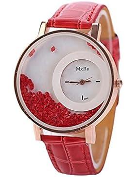 FEITONG Damen Einzigartig Uhr PU Leder Treibsand Rhinestone Analoge Quarz Armbanduhr Rot