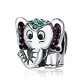 YOUFENG Jewellery Abalorio de Elefante de la Suerte con diseño de Animales esmaltados para Pulsera de Cadena de Serpiente y Regalo de cumpleaños para Mujer