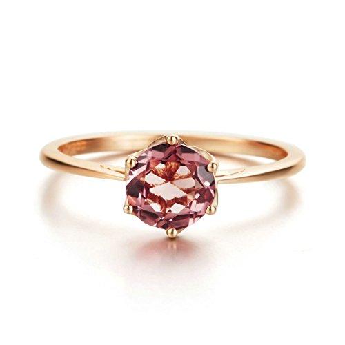 amen-Ring 18K Gold Verlobungsring Rubin Diamant Stein 0,85 Karat Solitärring für Frauen Größe 54 ()
