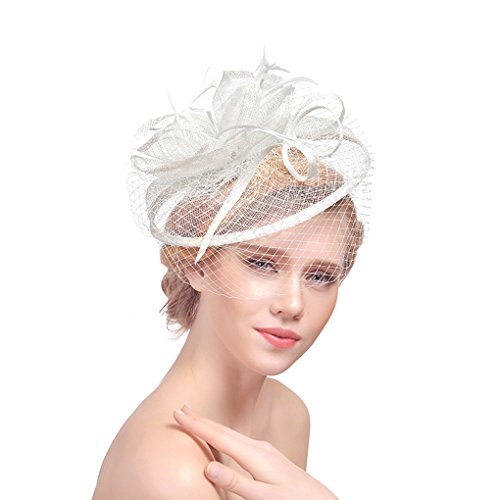 te mit Feder Blumen Haar Clip Haarreif Haar Accessoire Schleier Tea Party Hochzeit Kirche,Weißer Haarschmuck Kopfschmuck Kopfbedeckung für Frauen ()