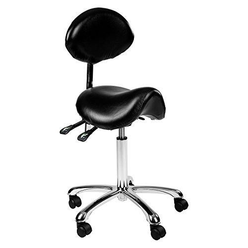 Physa Sattelstuhl ergonomischer Rollstuhl Drehstuhl Arbeitsstuhl mit Rückenlehne Comfort (Kunstleder, 5 leichtgängige Lenkrollen, höhenverstellbar 56-75 cm) Schwarz