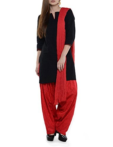 Womens Cottage Women's Red Cotton Jacquard Semi Patiala Salwar & Chiffon Dupatta Stole Set with Lace