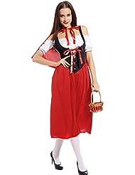 SEXY ROTKaePPCHEN Lange Kleider mit Umhang Cape Maerchenkostuem Damenkostuem karnevalkostuem