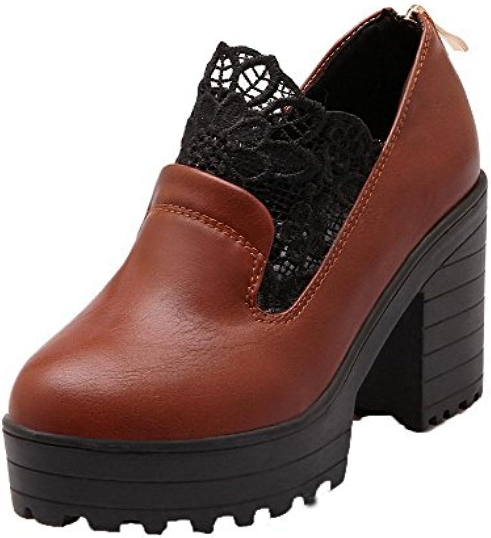 VogueZone009 Mujeres Cremallera Tacón Alto PU Bordado Puntera Cerrada Zapatos de Tacón -