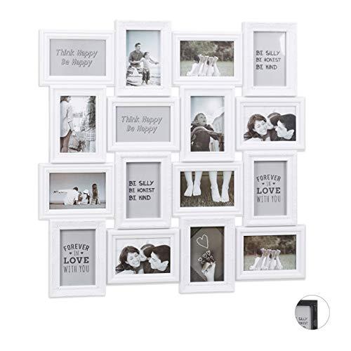 en Collagen, für 16 Bilder, 9 x 13, Hoch- oder Querformat, Kunststoffrahmen, HxB 70 x 70 cm, weiß ()