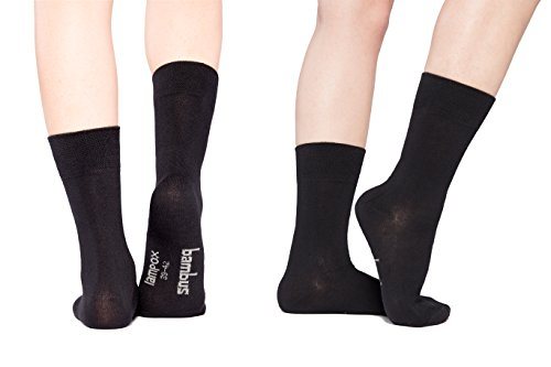 lampox Bambussocken - 6 Paar - Atmungsaktiv - Komfortbund - Geruchshemmend - Reduziert Fußschweiß - Superweich - Socken (43-46, 6 Paar schwarz)