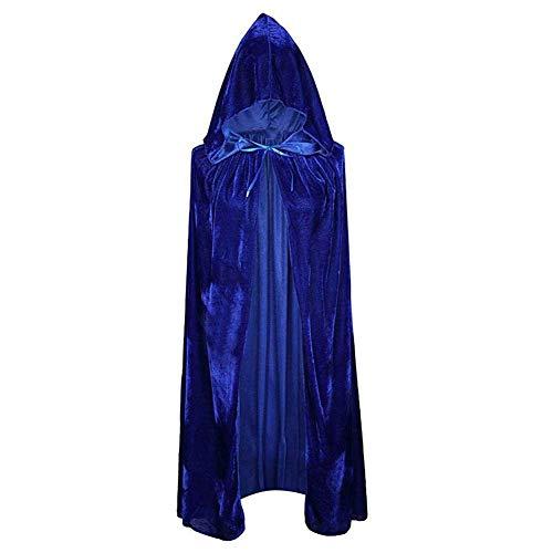 GLXQIJ Unisex Erwachsene Kapuzenmantel Long Velvet Cape für Devil Witch Wizard Halloween Weihnachten Cosplay - Blue Devils Kostüm