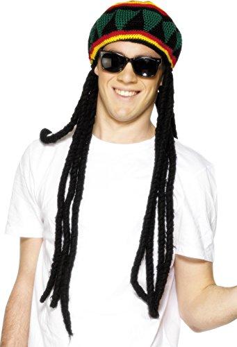 Rasta-Mütze Mehrfarbig mit Dreadlocks, One Size
