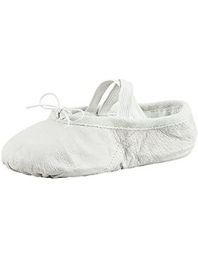 Zapatillas de ballet - Cuero, suela partida - Beige/blanco piedra - Blanco piedra - Talla: 34