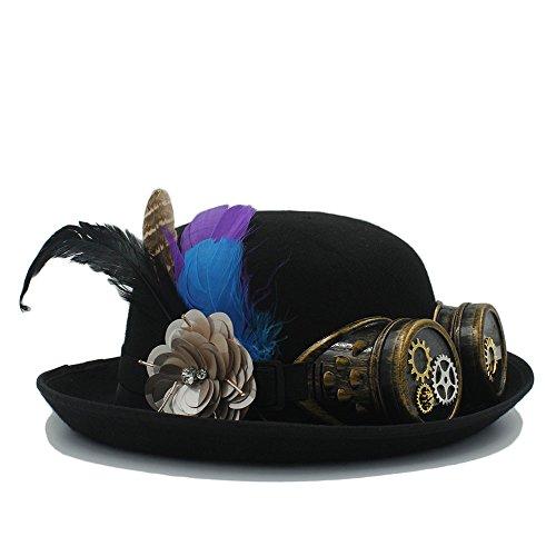 rz Handarbeit Bowler Hut für Cosplay Fedora Halloween Party Caps mit Feder Punk Getriebe Gläser für Frauen Männer (Farbe : Black, Size : 56-58cm) (Halloween Getriebe)