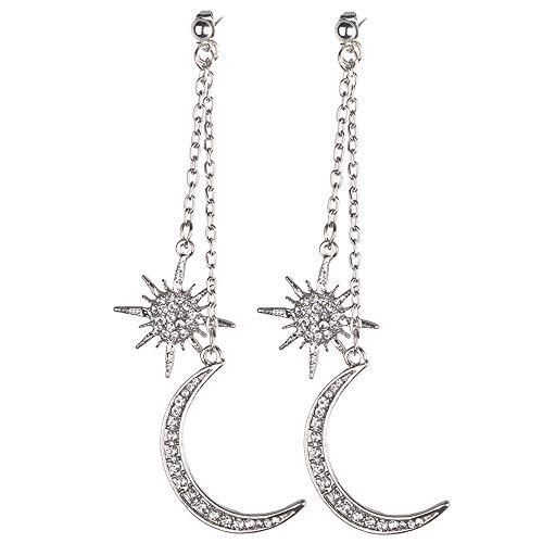 PinzhiPremium-Mode Elegant Sonne und Mond Lady Ohrringe Fancy Schmuck Haken fallen Dangle (Silber) Fancy Gabeln