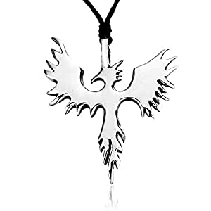 Llords Phoenix Bird Firebird Pewter Pendant Necklace