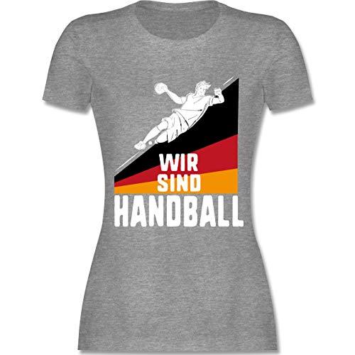 Handball WM 2019 - Wir sind Handball! Deutschland - XL - Grau meliert - L191 - Damen Tshirt und Frauen T-Shirt