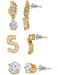 Spargz Alloy Gold Plated AD Stone Multishaped Mixed Stud 3 Pair Earrings Set For Women AIER 1119