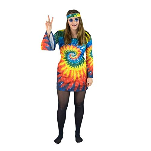 Bodysocks® 60iger & 70iger Peace Hippie Frauen Kostüm (Medium) (60's Und 70's Fancy Dress Kostüm)