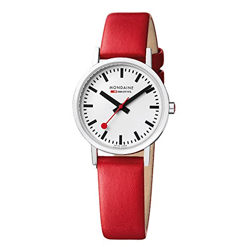 Mondaine Men's Classic 36 mm Watch with Stainless Steel polished Case white Dial and red leather strap Strap A660.30314.11SBC