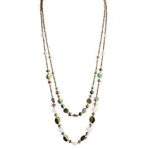 Frauen-Kostüm-Hemd Schmuck Handcrafted Grün-Ton Jade-Kristallkorn 2 Layered Lange Halskette, beste Geschenkidee (Grünen Kostüm Schmuck Halsketten)