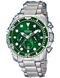 Reloj Festina caballero crono correa acero. Esfera verde 45 mm. W.R. 10 atm