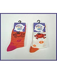 Mr Men Little Miss Socks (27-30, Orange/Pink)