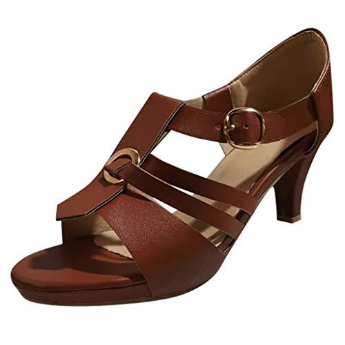 Floweworld Damen Vintage Rom Pumps Schuhe Sommer Stiletto High Heels Schuhe Elegante Ankle Buckle Open Toe Sandalen - Schuhe Stiletto Heel Ankle Wrap