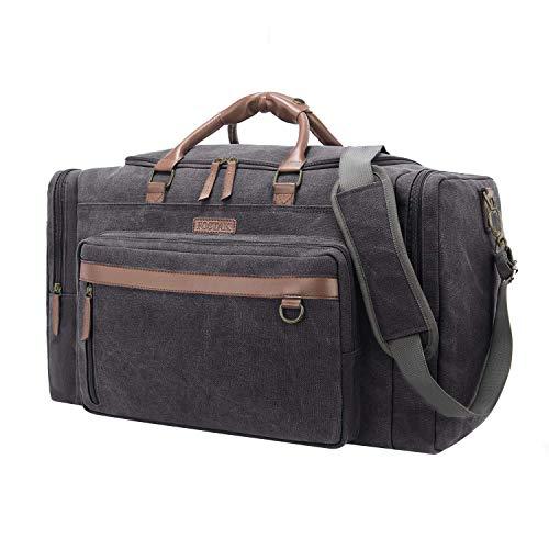 Canvas Leder Gepäck (Duffel Bag Weekender Reisetasche Organizer Übernachtung Tasche Volleyball Sporttasche Tote Bag Leder Gepäck für Männer und Frauen,Canvas Dunkel Grau)