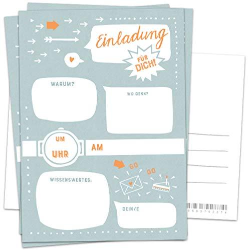 10 Einladungskarten - Einladung für dich! | Petrol Blau Weiß Orange | Postkarten Einladungen zum Geburtstag, Party, Einzug, Abschluss, Abschiedsfest u.v.m. | retro Design mit Adressfeld