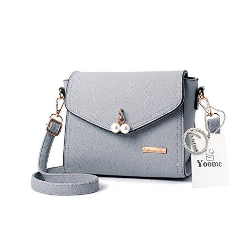 Yoome Elegante Perle Anhänger Klappe Tasche Lichee Muster Umschlag Taschen Für Frauen Leder - Schwarz Grau