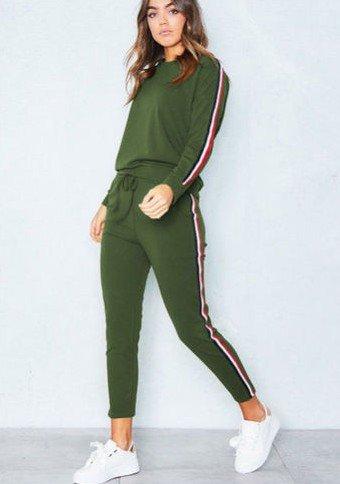 GAOLIM Frühling Und Herbst Damen Anzug Zwei Stück Solide Hose Langärmelige Pullover Anzug Frau, Grün, L (Leinen-anzug 2 Stück)