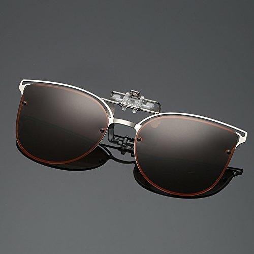 Yiph-Sunglass Sonnenbrillen Mode Frauen Sonnenbrille Clip kurzsichtig Fahren Vision Objektiv Anti-UVA Anti-UV-Radfahren Reiten Sonnenbrille polarisierte Clip (Color : Brown)