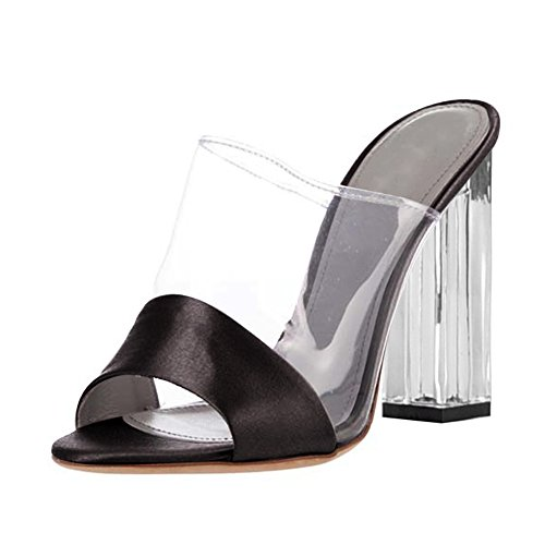 Damen Open Toe Sandalen Transparent High-Heels Blockabsatz Slingback Schwarz