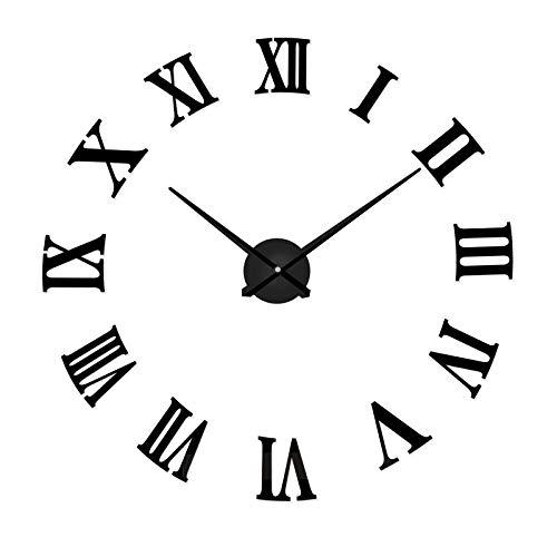 Daingjiang Números Romanos Europeos de Bricolaje Reloj de Pared Redondo Espejo acrílico Mudo Pegatinas...