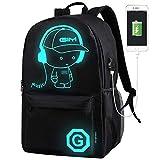 School Bags, ICETEK Anime Luminous Backpack Canvas Shoulder Daypack Boy Rucksack with USB