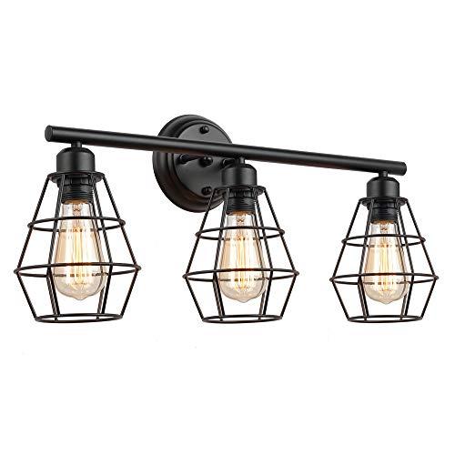 KOONTING 3light kücheninsel pendelleuchte, jahrgang industrielle kronleuchter, drahtkäfig wandleuchte 3-licht vanity licht -
