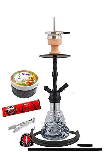 Amy Deluxe Shisha 440 Stillness II Klick, Kult-Wasserpfeife, Starter-Set mit 44-Ring-Kohle & Shiazo, Farbe 2:Schwarz RS Schwarz