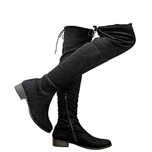 Saute Styles , Bottes cuissardes femme Black Suede Tie Back