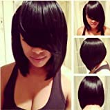 MARIAN Fashion Synthetic Hair Style Short Bob Wig for Women Jet Black+ A Free Wig Cap
