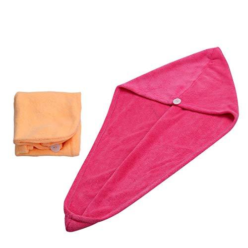 Irypulse 2 pcs Trockene Haarkappe, Microfaser Twist Haar Turban Handtuch Super Soft absorbierende Schnell Trocknende Bad Kopf Wickeln - Orange & Rosa Rot