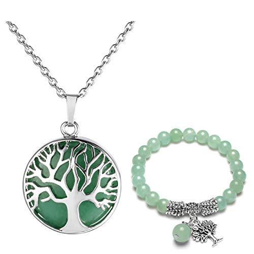 Scheda dettagliata JOVIVI Set di gioielli da donna in argento con albero della vita, pietra rotonda, collana e bracciale con perle da 8 mm e base metal, colore: Aventurin, cod. TTDE000662