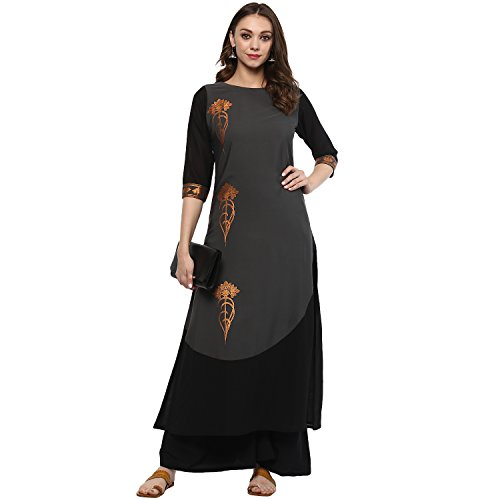 Ziyaa women's Grey Colour Flared Crepe Kurta & Palazzo Set